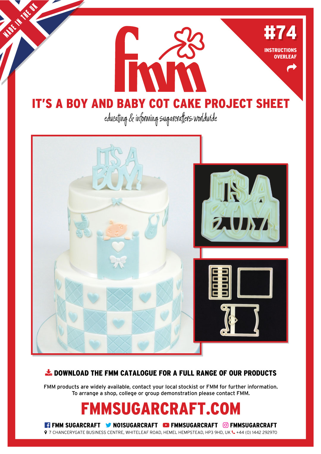 How to use It's a Boy and Baby Cot Cutter Set - FMM Sugarcraft Project No. 74