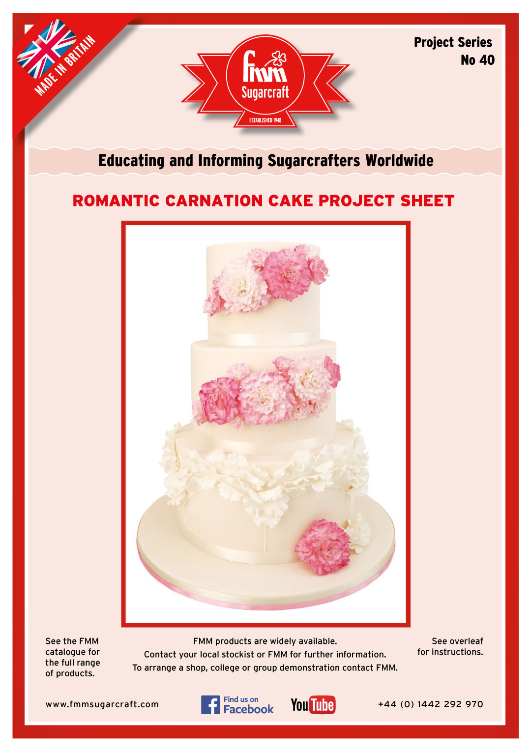 How to make a Romantic Carnation Cake - FMM Sugarcraft Project No. 40